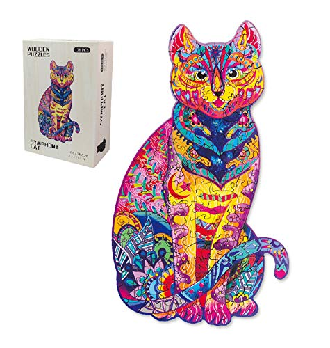 """Wooden Jigsaw Puzzles for Adults Unique Shape Various Animals Pieces Table Puzzles Best Gift for Teens Boys Girls (Cat, 6-1/2""""x 11-1/4"""")"""
