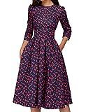 Simple Flavor Women's Floral Vintage Dress Elegant Autumn Midi Evening Dress 3/4 Sleeves (Red,M) by