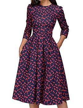 Simple Flavor Women s Floral Vintage Dress Elegant Autumn Midi Evening Dress 3/4 Sleeves  Red,L