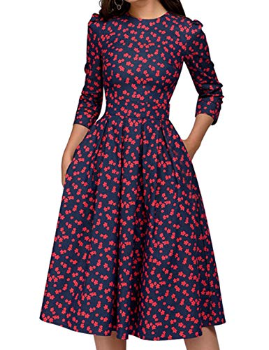 Simple Flavor Women's Floral Vintage Dress Elegant Autumn Midi Evening Dress 3/4 Sleeves (Red,M)