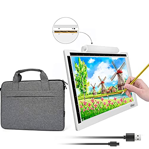 A4 LED Light Pad Ultra-Thin USB and Battery Two Power Supply Methods Trace Board Dimmable Brightness Tracing Light Box for Artist Drawing Sketching Animation Stenciling Diamond Painting,Value Package