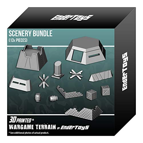EnderToys Scenery Bundle, Terrain Scenery for Tabletop 28mm Miniatures Wargame, 3D Printed and Paintable