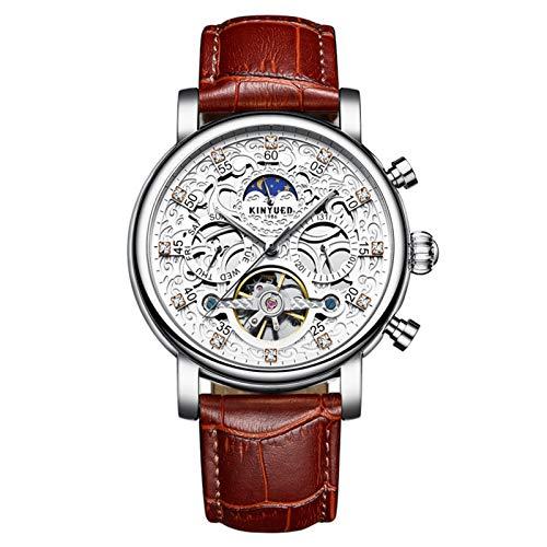 JTTM Lujo para Hombre Tourbillon Fase De La Luna Automático Mecánico Banda De Cuero Reloj De Pulsera Reloj De Negocios para Hombres,Silver Brown