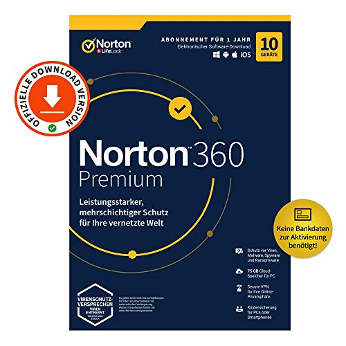 Auch gut in der Welt Norton 360 Premium 2020, 10 devices, antivirus, unlimited secure VPN, password manager, PC / Mac / Android / iOS, email activation code