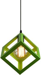 E27 Lustre Suspension industrielle Contemporain forme Cube Carré, Lampe de Plafond en Métal Fer Abat-Jour Luminaire, Vert