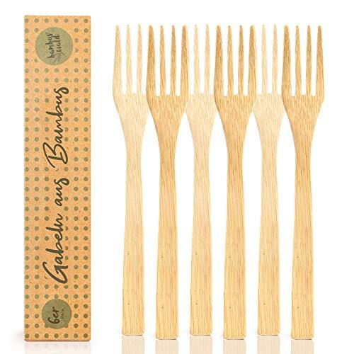 bambuswald© 6 Stück plastikfreie Gabeln | Essgabeln aus 100% Bambus - ökogisch & nachhaltiges Essbesteck | Besteck ideal für Grillparty, Picknick, Camping - Reisebesteck Partybesteck Grillbesteck