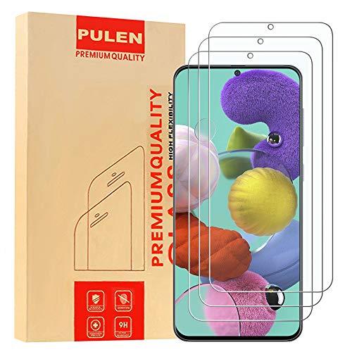 Preisvergleich Produktbild [3 Pack] PULEN Panzerglas Schutzfolie für Samsung Galaxy A51 ,  9H Glas Display schutzfolie [Anti-Kratzen] [Bubble-frei][Fingerabdruck-frei] HD Klar folie