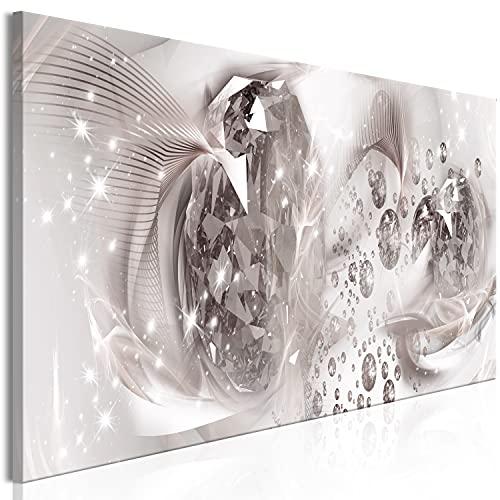 murando Cuadro en Lienzo Abstracto 120x40 cm Impresión de 1 Pieza Material Tejido no Tejido Impresión Artística Imagen Gráfica Decoracion de Pared - Diamante Beige Plata a-A-0754-b-a