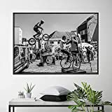 Póster de fotografía de ciclismo de Francia, imágenes artísticas de pared vintage, pintura en lienzo de bicicleta en blanco y negro para la decoración del hogar de la sala de estar-60x85cm-Sin marco