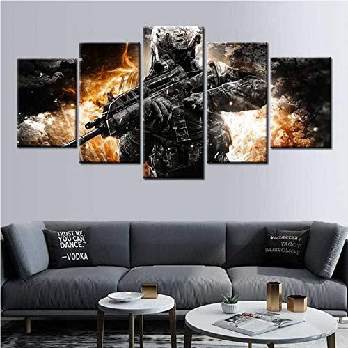 ZYQXI 5 Piezas Impresión Lona Pintura Lona Call of Duty Lienzo Arte de la Pared pósters e Impresiones Arte de la Pared Decoración de la habitación de los niños Cuadro Pintura-40x60x2 40x80x2 40x100cm