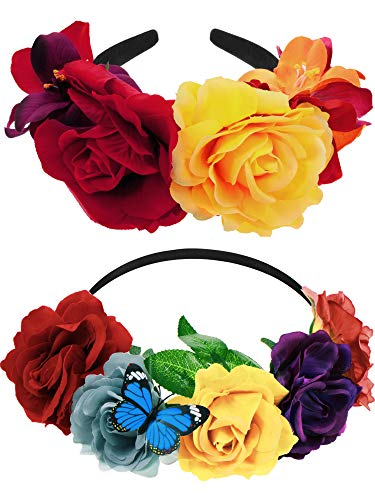 Syhood 2 Pieces Mexican Headband Day of The Dead Headband Flower Crown Costume Headpiece for Women Girls (Chic Colors)