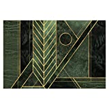 Bilderwelten Papel Pintado Adhesivo - Geometric Emerald Gold - Mural apaisado 190 x...