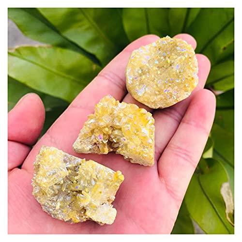 30G-125g Natural Aura Angel Druzy Geody Stone Amarillo Crystal Cluster Artesanía para...