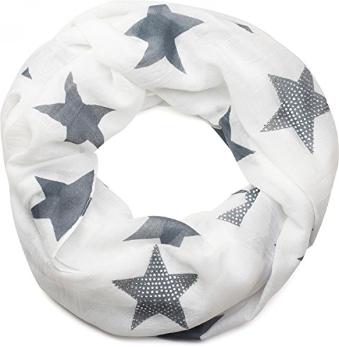 styleBREAKER Loop Schal mit Sterne Muster und edler Strass Applikation, Schlauchschal, Tuch, Damen 01018086, Farbe:Weiß-Grau (One Size)