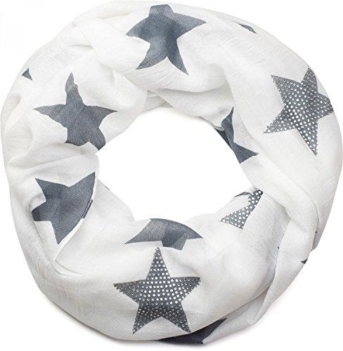 styleBREAKER sciarpa scaldacollo con disegni a stella e un'elegate applicazione di strass, Donna 01018086, colore:Bianco-Grigio