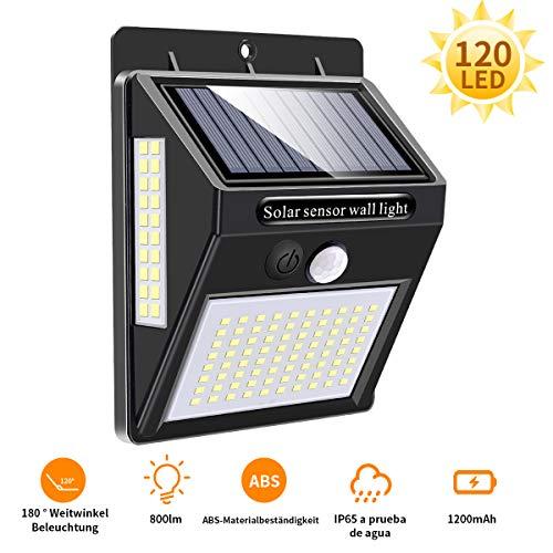 Mewtwo Solarlampen für außen mit Bewegungsmelder Solarleuchten für außen LED Strahler Außen LED Aussenleuchte Solar Außenwandleuchten 120 LED IP65 1 Stück【Aktualisiert 800 Lumen】