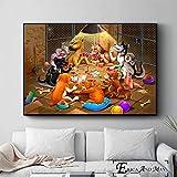 ganlanshu Perro Jugando al póquer Divertido Estilo póster e impresión Mural decoración Pintura decoración del hogar,Pintura sin marco-30X45cm
