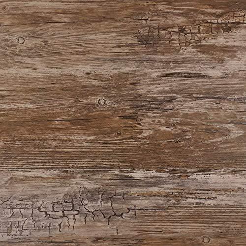Rohr-Trading.SURFACES Klebefolie für Möbel Küche Tür & Deko I Selbstklebende Folie inkl. Filzrakel zur Verarbeitung I 3D Fototapete in brauner Vintage Holzoptik [200 x 45cm]