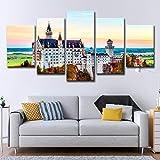 5 Stück Leinwanddruck Wandkunst Bilder,Schloss