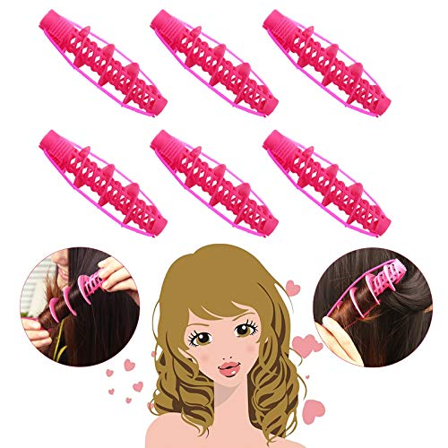 Jeeleno 6Pcs Hair Rollers, Heatless Hair Curlers, DIY Spiral Curlers You Can Sleep in, Home Salon Hairdressing Curlers, Hair Rollers for Short/Medium/Long hair