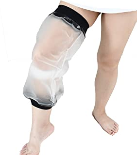 Knee Cast Cover for Shower, Waterproof TPU Shower Bandage and Cast Protector for Knee Replacement Surgery, Wound, Burns Watertight Protection Reusable