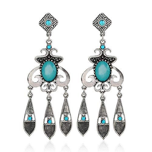 Joyería de moda europea y americana Pendientes de resina de diamantes borla geométrica retro Pendientes salvajes