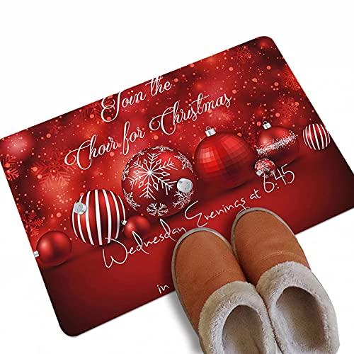 Zerbino natalizio per interni ed esterni, per ingresso, scarpiera per ingresso e ingresso esterno, tappeto per terrazza, palla di Natale rossa, 40 x 60 cm