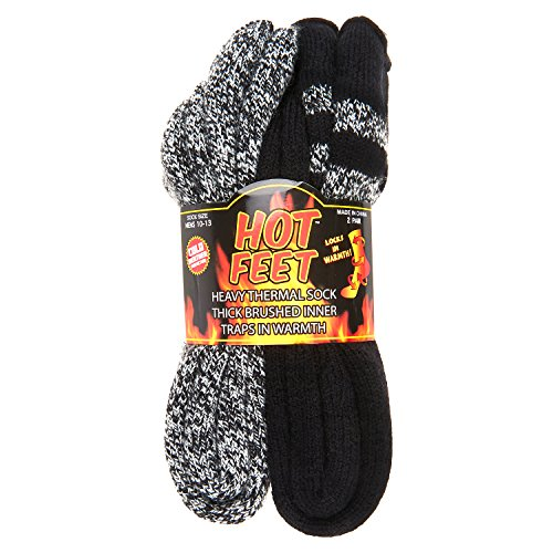 Hot Feet Men's 2 Pairs Heavy Thermal Socks - Thick Insulated Crew for Cold Weather,Black W/ Grey Stripe and Black Grey Marl,10-13Hot Feet Men's 2 Pairs Heavy Thermal Socks - Thick Insulated Crew for Cold Weather,Black W/ Grey Stripe and Black Grey Marl,10