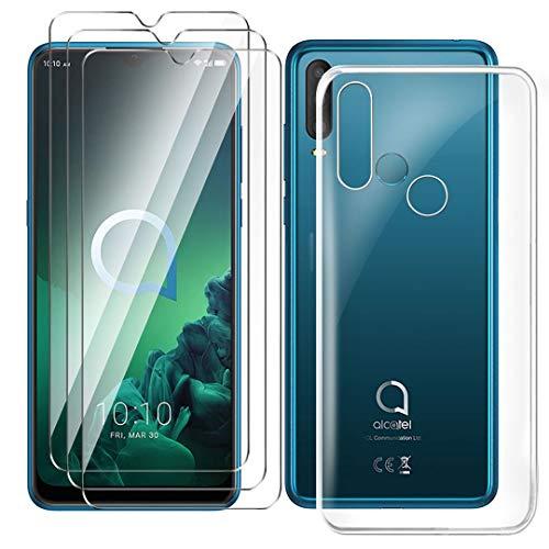 HYMY Hülle für Alcatel 3X 2019 Smartphone + 3 x Schutzfolie Panzerglas - Transparent Schutzhülle TPU Handytasche Tasche Durchsichtig Klar Silikon Hülle für Alcatel 3X 2019 (6.52