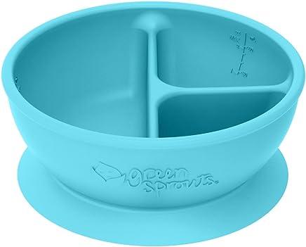 Preisvergleich für Green Sprouts–Silikon Saugnapf Learning Schale unterteilt–Aqua