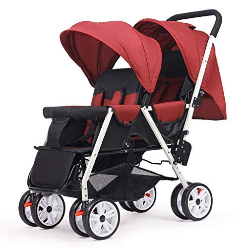 Carritos y sillas de Paseo Cochecitos de bebé Gemelos Ligero Plegable Delantero y Trasero Reclinable Carro Doble Mosquitera for automóvil Infantil Cinturón de Seguridad de Cinco Puntos Be