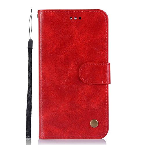 Sunrive Hülle Für Nokia 6.1/Nokia 6 Version 2018, Magnetisch Schaltfläche Ledertasche Schutzhülle Etui Leder Hülle Cover Handyhülle Schalen Handy Tasche Lederhülle(J Rot)+Gratis Eingabestift