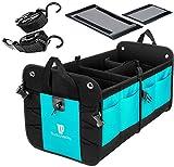 TRUNKCRATEPRO Premium Multi Compartments Collapsible Portable Trunk Organizer for auto, SUV, Truck, Minivan (Black) (Regular, Cyan Green)