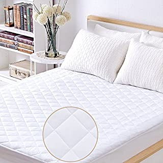 Safe and Sound Full Quilted Fitted Mattress Pad, 100% Waterproof Breathable Mattress Cover Stretches up to 14 Inches Deep Pocket Hollow Cotton Alternative Filling - Cooling Mattress Topper Vinyl Free