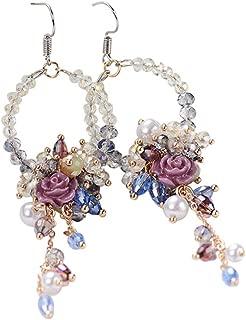 FENICAL Earrings Korean Dangle Earrings Fashion Earrings Boucle D'oreille Rhinestone Flower Beads Tassel Earrings for Women Girls