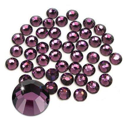 Jollin Glue Fix Flatback Rhinestones Glass Diamantes Gems for Nail Art (ss16 1440pcs, Amethyst)