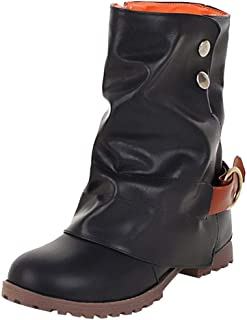 vermers Fashion Warm Short Leather Boots - Women Casual Buckle Artificial Leather Patchwork Shoes