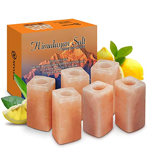 Nevlers 6 Piece All Natural Handcrafted Pink Himalayan Salt Shot Glasses - Unique & Modern SQUARE Shape - Great for Tequila Shots - 3' Tall Shot Glasses – Made from 100% Himalayan Salt