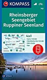 KOMPASS Wanderkarte Rheinsberger Seengebiet, Ruppiner Seenland: 4in1 Wanderkarte 1:50000 mit Aktiv Guide und Detailkarten inklusive Karte zur offline ... (KOMPASS-Wanderkarten, Band 743)
