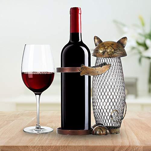 ELS Estante de Vino de Gato con contenedor de Corcho Botella de Hierro Soporte de Vino Artesanía Decoración Soporte de Vino Creativo Muebles para el hogar para Barra de Cocina