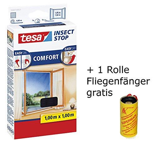 tesa Insect Stop Comfort vliegenhor voor ramen en insectenbescherming met zelfklevend klittenband in antraciet / 100 cm x 100 cm + 1 rol vliegenvanger gratis (100 cm x 100 cm/3-pak, antraciet)