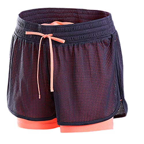 DEELIN 2 in 1 Damen Laufshorts Yoga Gym Sport Shorts Atmungsaktiv Fitnessshose Outdoor Sporthose Traningshose