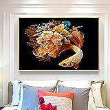 Pintura al óleo póster Póster de algas marinas con flores de pescado, imágenes de animales, carteles de pintura en lienzo e impresiones, arte de pared para la decoración de la sala de estar 40X60cm