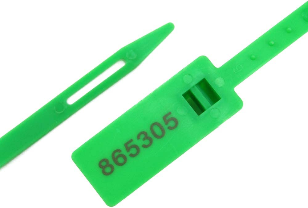 13.31 Numbered Security Seals Heavy Duty Zip Ties Tamper Proof Plastic Tag with Wire Tie 100pcs Safety Label for Luggage Transport Logistics Blue