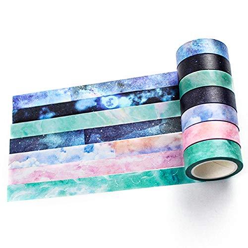 Yubbaex Washi Tape Set 7 Rotoli nastro adesivo colorato decorativo per Forniture Artigianali Fai da te e Decorazioni