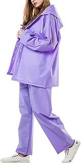 KTYXDE Raincoat Suit Men's and Women's Motorcycle Waterproof Jacket Suit Coat Pants Raincoat (Color : Purple, Size : XL)