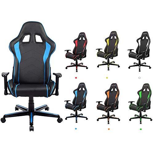 CHAIR Ergonomischer Gaming-Stuhl, Pc-Computerstuhl, Mit Kopfstütze/Lendenkissen, Pu-Ledermaterial, Drehbarer Stuhl Mit Hoher Rückenlehne, Gelb,Blau