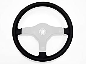 RedlineGoods Steering Wheel Cover (M-Tech 1) Compatible with BMW 3-Series E30 1982-90. Black Leather-Black Thread