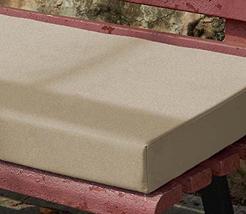 Yoole EU Cojín de banco de jardín 100/120x50 cm, impermeable, 2/3 plazas, asiento de silla de banco largo, cojín para muebles de patio y exterior (150 x 40 x 5 cm, beige)