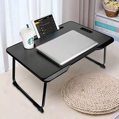 Laptop Desk, Adjustable Lap Bed Tray Table, Foldable Notebook Stand Reading Holder with Handle, Card Slot and Cup Holder for Couch Floor, Eating, Reading Book, Watching on Bed/Sofa/Dorm-Black